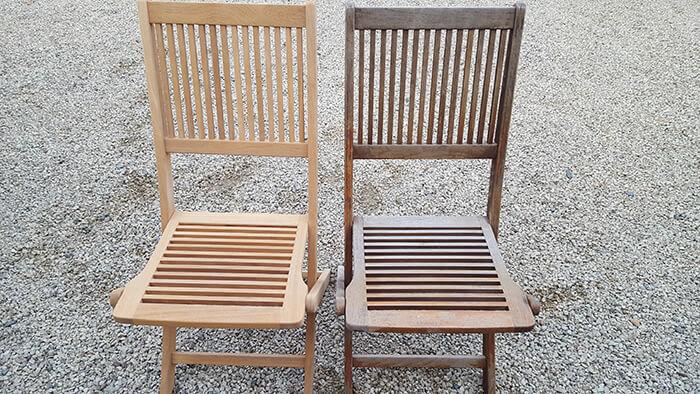 Chaises en bois avant et après nettoyage par aérogommage